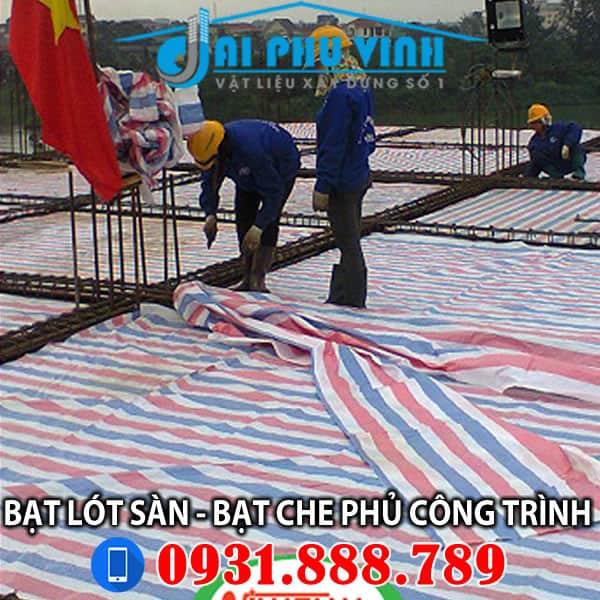 Bạt sọc trải sàn đổ bê tông - Bạt che phủ công trình - LH 0931888789