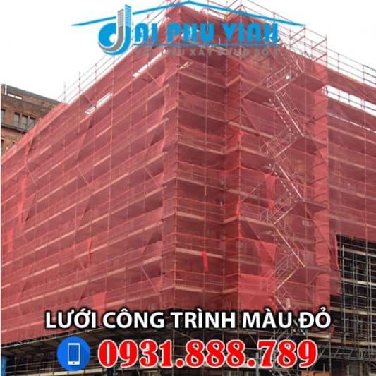 Lưới bao che xây dựng màu đỏ – Lưới bao che công trình màu đỏ. Lh 0931.888.789