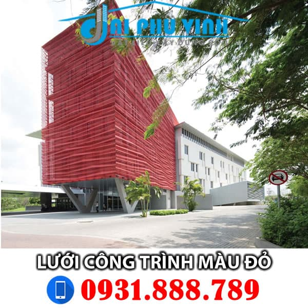Lưới bao che xây dựng màu đỏ - Lưới bao che công trình màu đỏ. Lh 0931.888.789