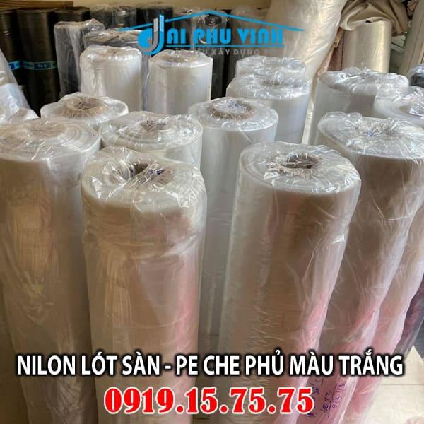 Bảng báo giá nilon lót sàn - trải sàn màu trắng - Giá màng PE che phủ màu trắng. LH đặt hàng 0919157575